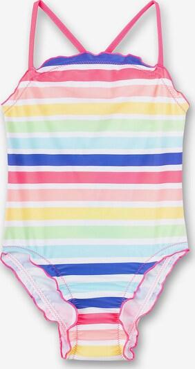 SANETTA Gestreifter Badeanzug in blau / hellblau / gelb / hellgrün / pink, Produktansicht