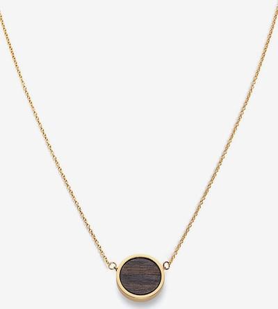 Kerbholz Kette 'Circle' in kastanienbraun / gold, Produktansicht