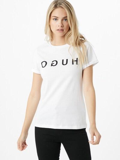 HUGO Majica | črna / bela barva, Prikaz modela