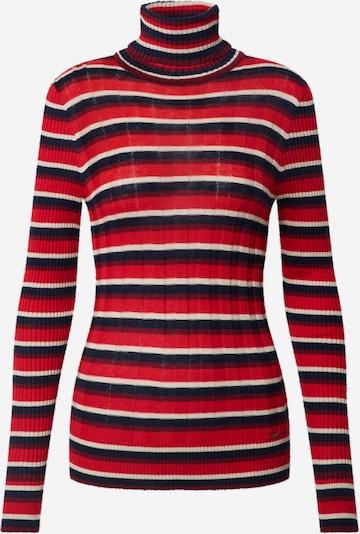Pepe Jeans Pullover 'Flor' in rot / schwarz / weiß, Produktansicht