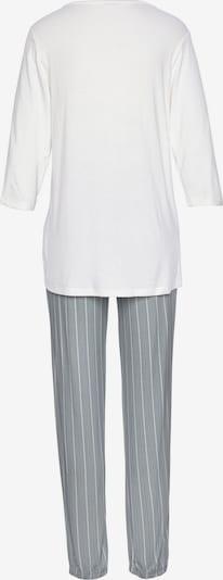 LASCANA Pyjama in hellgrau / weiß, Produktansicht