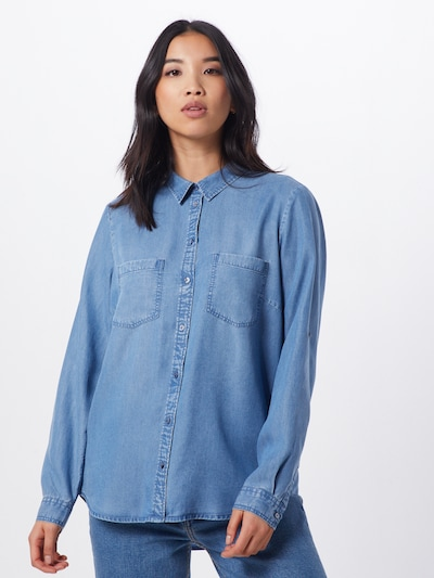 TOM TAILOR Chemisier 'denim tencel' en bleu denim, Vue avec modèle