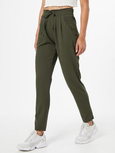 JACQUELINE de YONG Bukser med lægfolder 'Catia' i mørkegrøn, Modelvisning