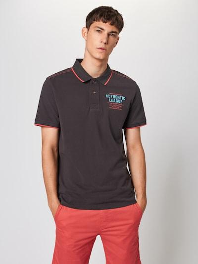 TOM TAILOR Poloshirt in aqua / schlammfarben / koralle: Frontalansicht