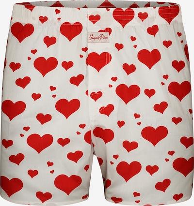 Sugar Pine Boxershorts 'Herzen' in rot / weiß, Produktansicht