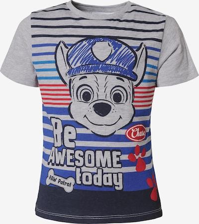 PAW Patrol T-Shirt in royalblau / graumeliert / eosin / feuerrot, Produktansicht
