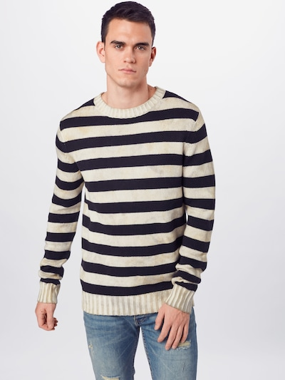 tigha Pullover 'Eddy' in beige / dunkelblau, Modelansicht