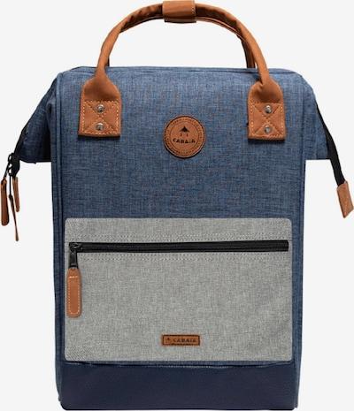 Cabaia Rucksack in blue denim / cognac / hellgrau, Produktansicht