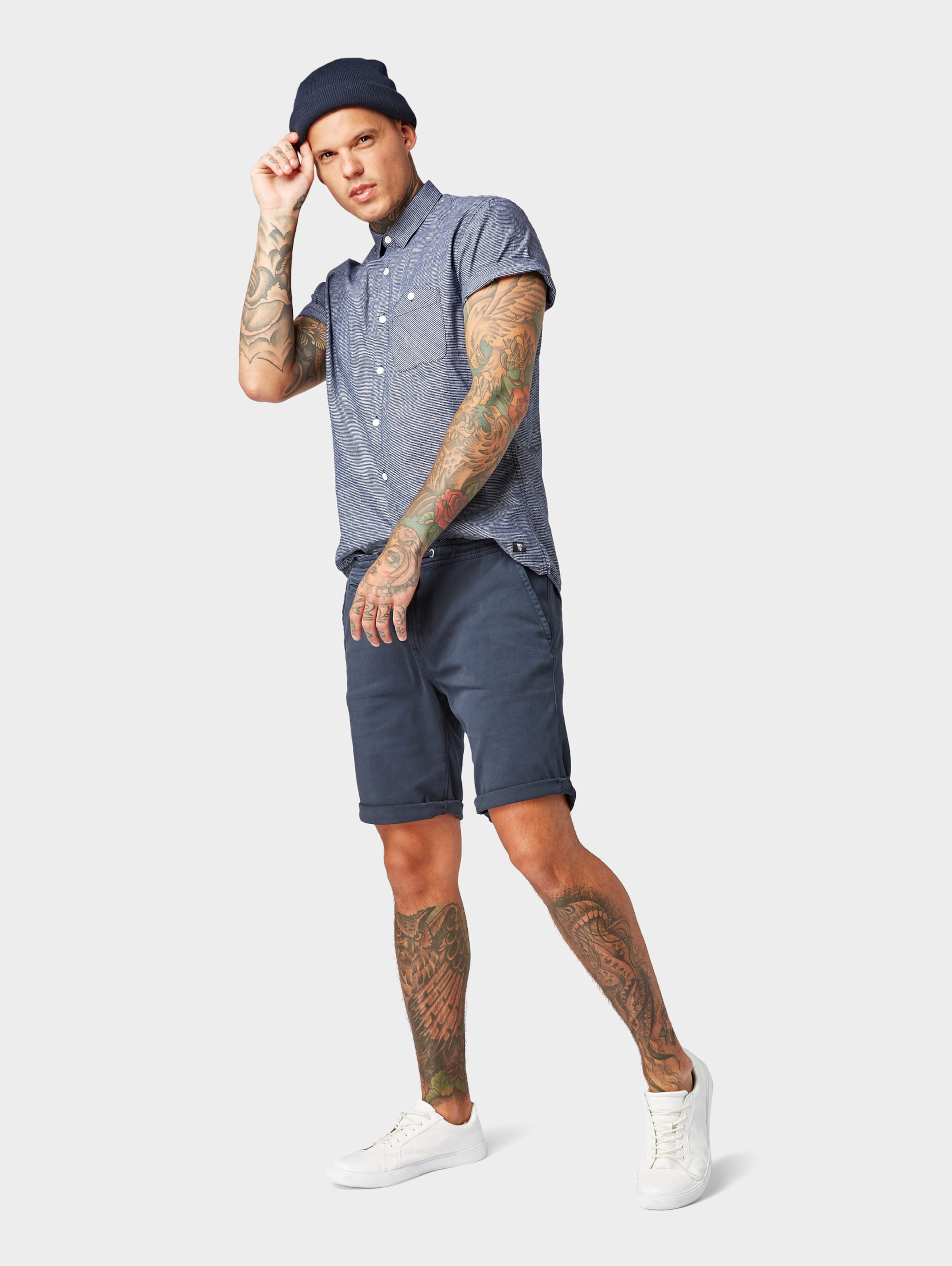 Tom Tailor In Kurzarmhemd Denim TaubenblauDunkelblau A3j4R5L