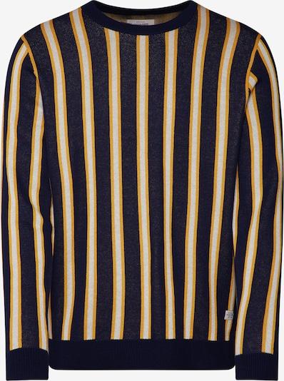 JACK & JONES Trui 'Vertical Crew Neck' in de kleur Donkerblauw / Geel / Wit, Productweergave
