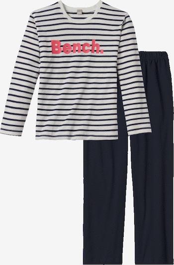 BENCH Pyjama in navy / koralle / naturweiß, Produktansicht