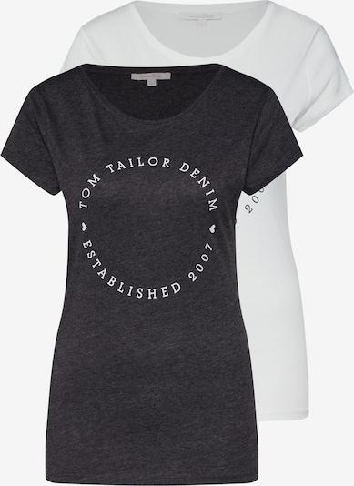 TOM TAILOR DENIM T-shirt i gråmelerad / vit, Produktvy