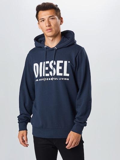 DIESEL Sweat-shirt 'S-Gir Hood Division' en bleu / blanc: Vue de face