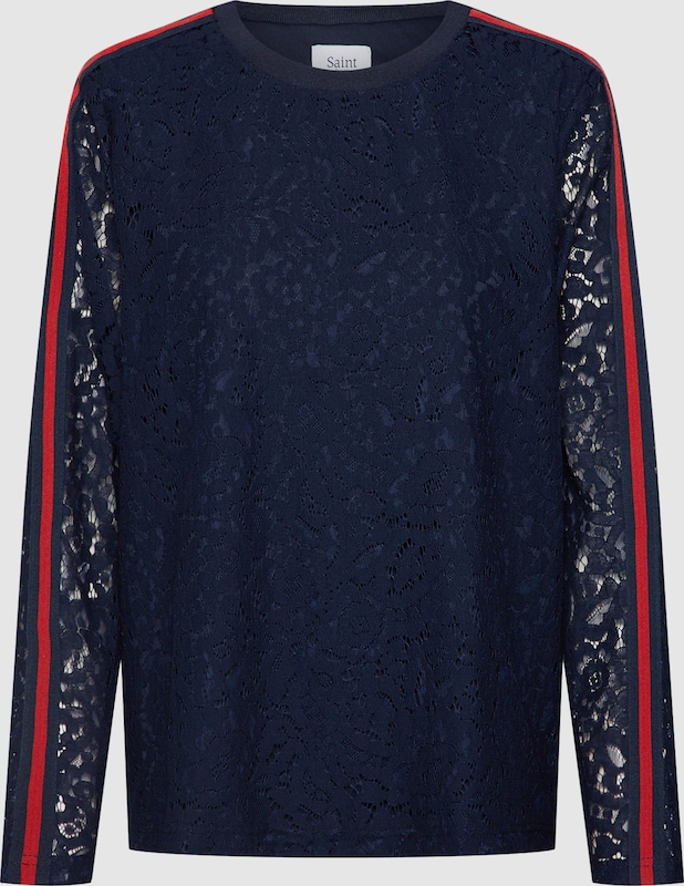 SAINT TROPEZ Shirt 'LACE BLOUSE' in navy   rot  Freizeit, schlank, schlank