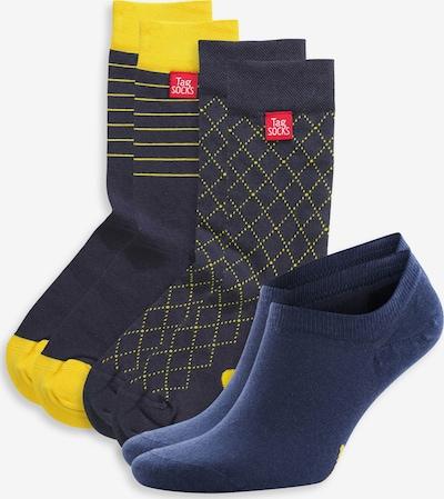 Tag SOCKS Chaussettes en bleu marine / jaune, Vue avec produit