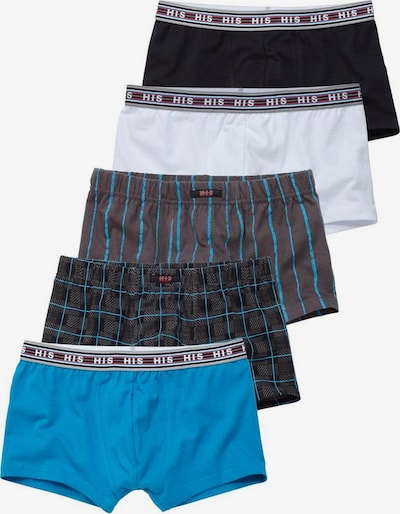HIS JEANS Boxer (5 Stück) in himmelblau / kastanienbraun / anthrazit / schwarz / weiß, Produktansicht