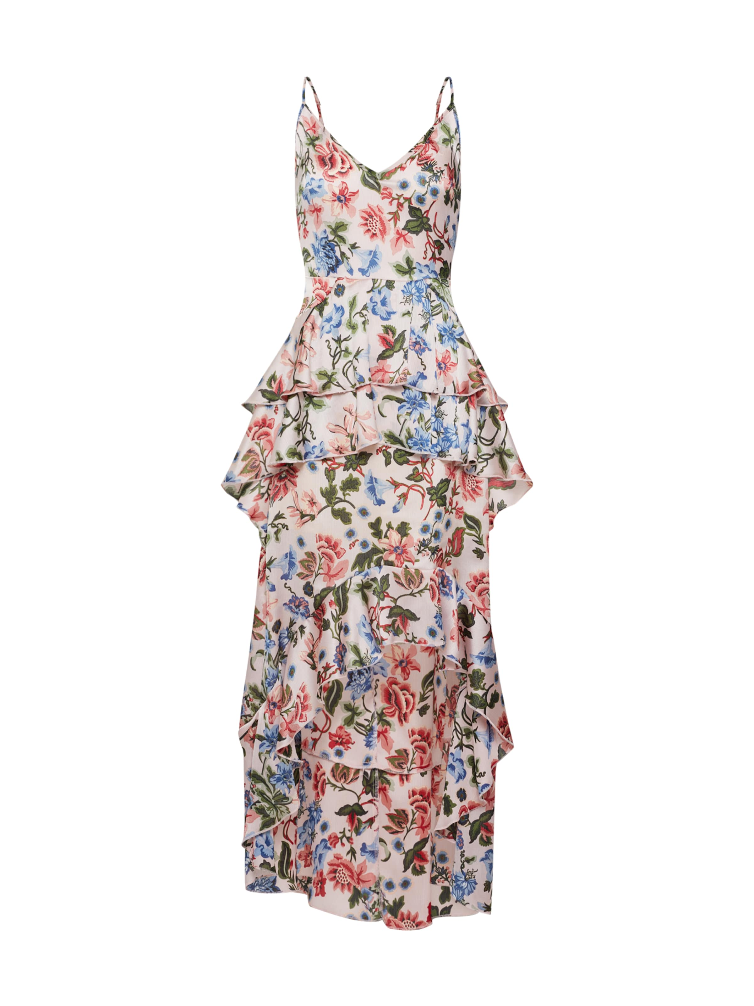 Missguided 'floral Ruffled Midi Dress' Rose En Robe D'été TKc1lJF