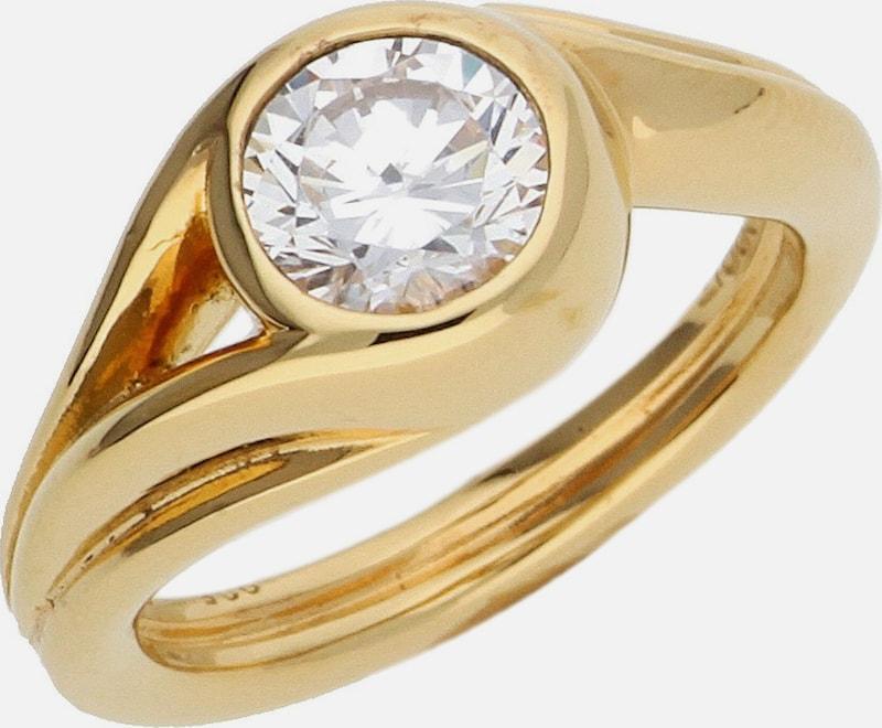 ESPRIT Damen Fingerring 925 Silber Gold Glamour Solitaire ESRG92036B