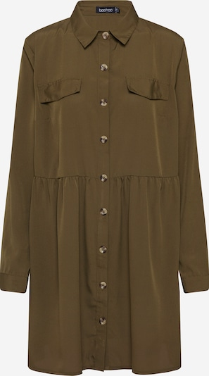 Boohoo Blousejurk 'Button Through Smock Shirt' in de kleur Kaki, Productweergave