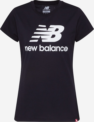 Tricou 'Essentials Stacked Logo' new balance pe negru / alb, Vizualizare produs