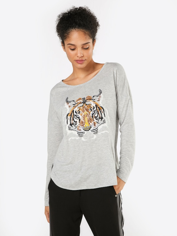 Miss goodlife Langarmshirt 'Tigerhead' in grau    Bequem und günstig d15a8e