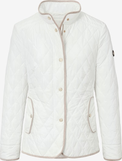 Basler Jacke in unifarbener Stepp-Optik mit paspelierten Säumen in wollweiß, Produktansicht