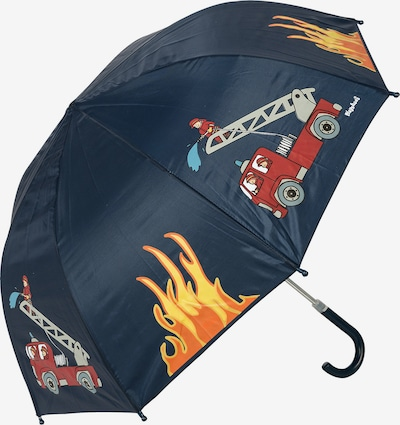 PLAYSHOES Umbrella 'Feuerwehr' in Night blue / yellow gold / Light grey / Fire red / Light red, Item view
