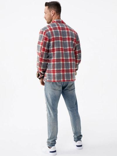 ABOUT YOU x Magic Fox Prehodna jakna 'Bela'   siva / rdeča barva: Pogled od zadnje strani