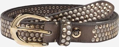 b.belt Handmade in Germany Ledergürtel mit glitzernden Nieten in taupe, Produktansicht