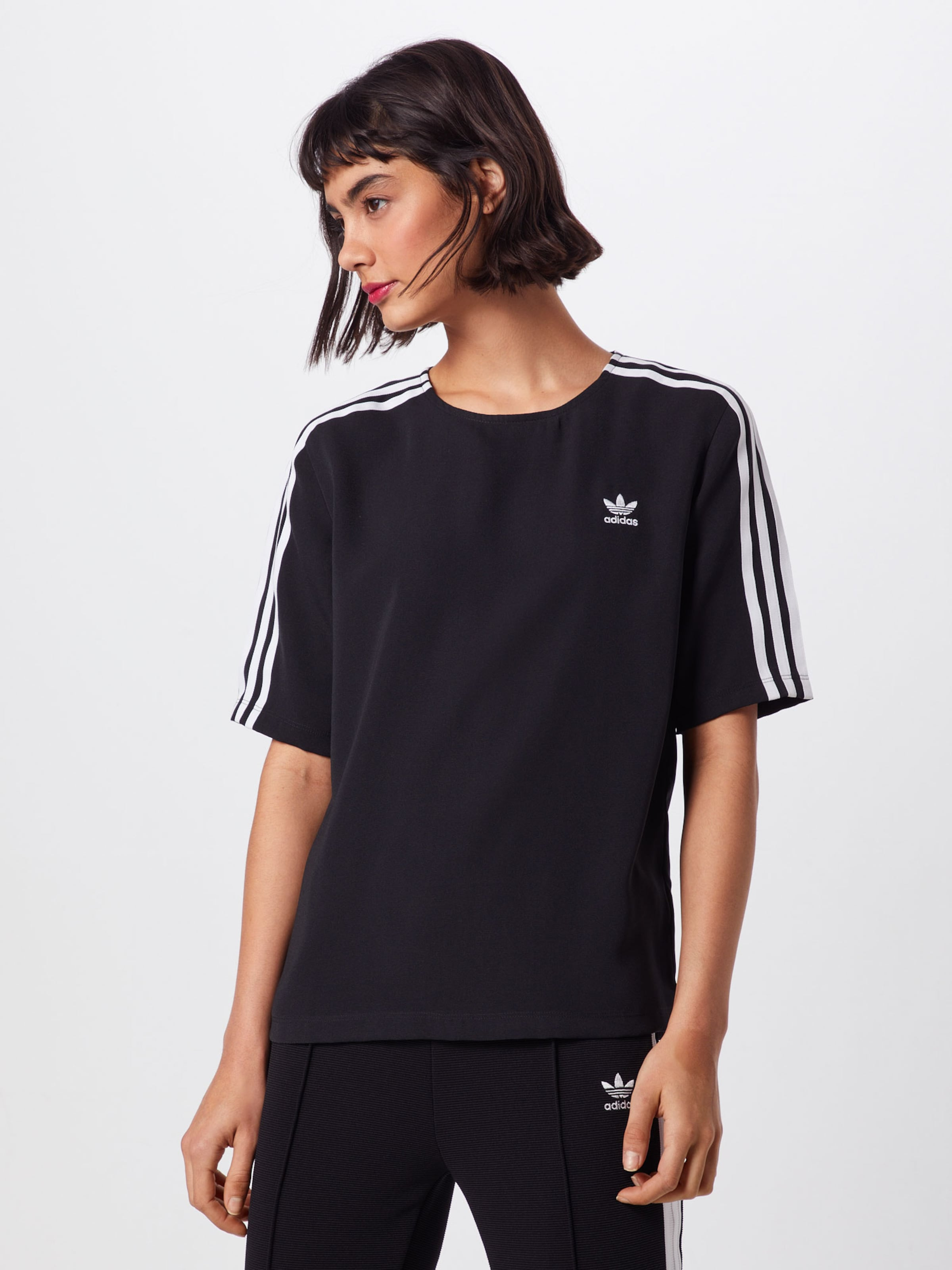 Originals shirt NoirBlanc '3 Stripes' En Adidas T Ygbyfv76