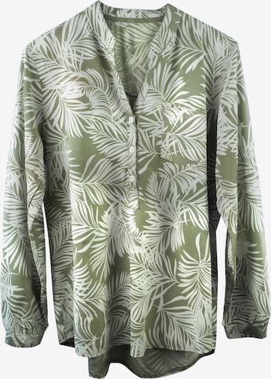 Heimatliebe Bluse mit Blätterdruck in oliv, Produktansicht
