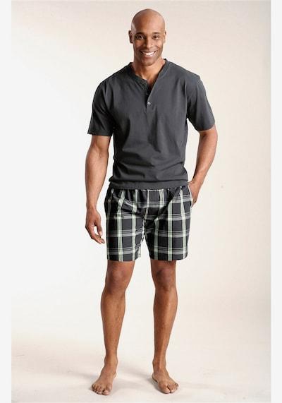HIS JEANS Pyjama kurz in grau / grün, Produktansicht