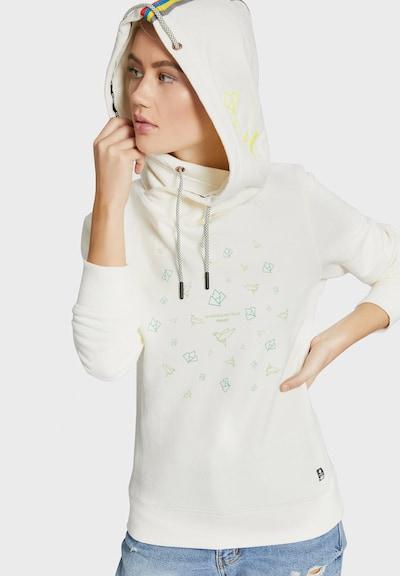 khujo Sweatshirt 'PAPEETA' in rauchblau / weiß: Frontalansicht