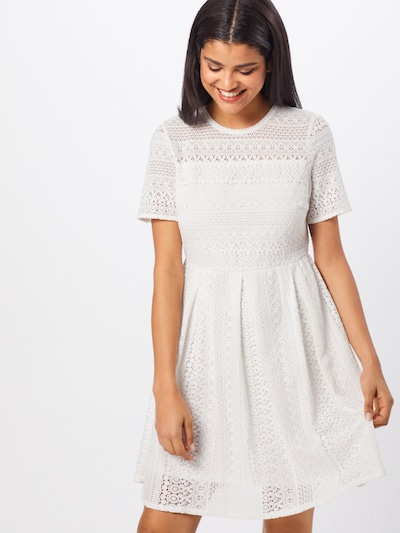 VERO MODA Kleid 'VMHONEY LACE PLEATED S/S DRESS EXP' in weiß, Modelansicht