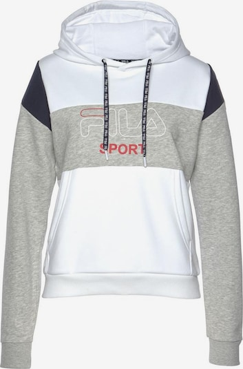 FILA Kapuzensweatshirt 'LAHOMA Hoody' in grau / weiß, Produktansicht
