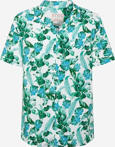 GUESS Hemd in dunkelgrün / weiß: Frontalansicht