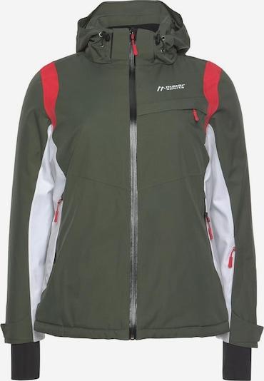Maier Sports Skijacke in khaki / rot / weiß, Produktansicht