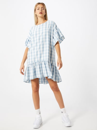 PIECES Kleid 'Mary' in blau / weiß, Modelansicht