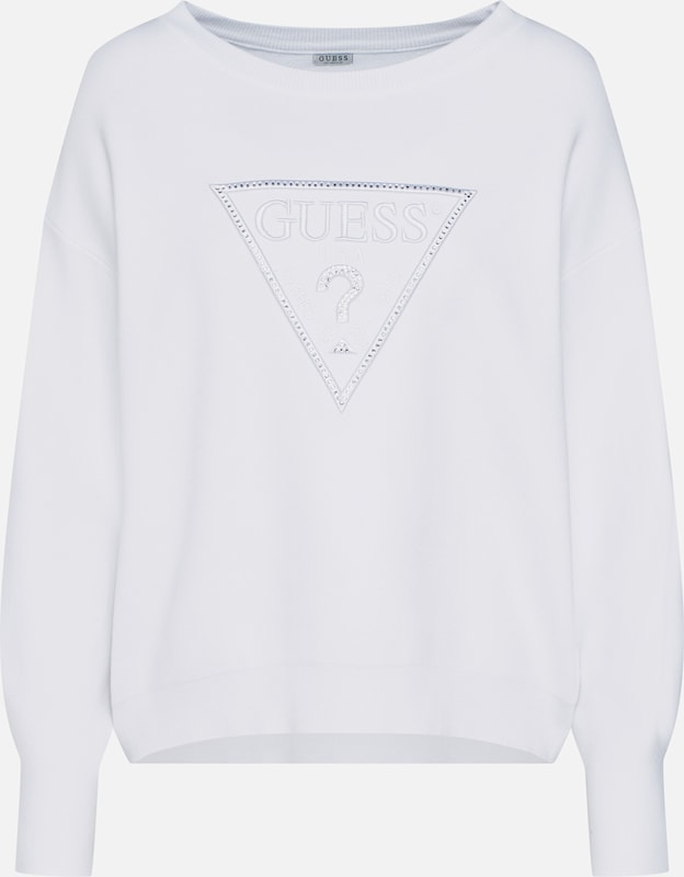 GUESS Pullover 'DEBRA SWEATER' in gelb pink weiß | ABOUT YOU