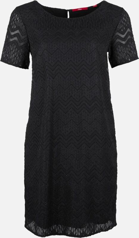 S.Oliver rot LABEL Kleid mit Metallic-Ausbrennermuster in schwarz  Mode neue Kleidung