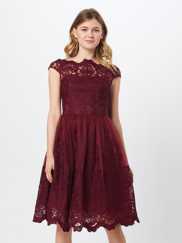 Chi Chi London Kleid 'Jimima Dress' in bordeaux: Frontalansicht