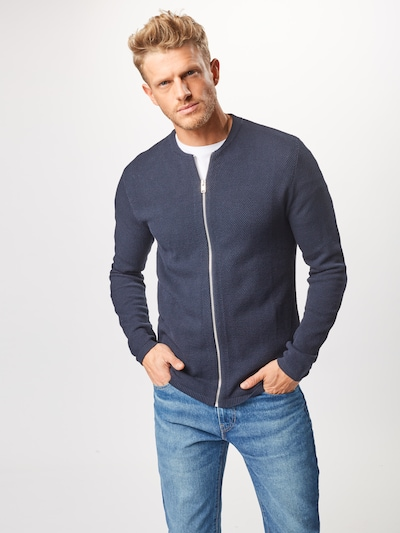 SELECTED HOMME Strickjacke 'ROCKY ZIP' in dunkelblau: Frontalansicht