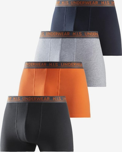 HIS JEANS Boxershorts in grau / anthrazit / orange / schwarz, Produktansicht