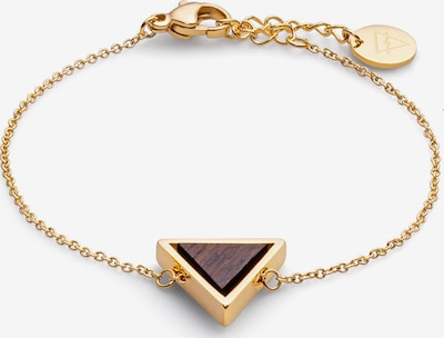 Kerbholz Armband in braun / gold, Produktansicht