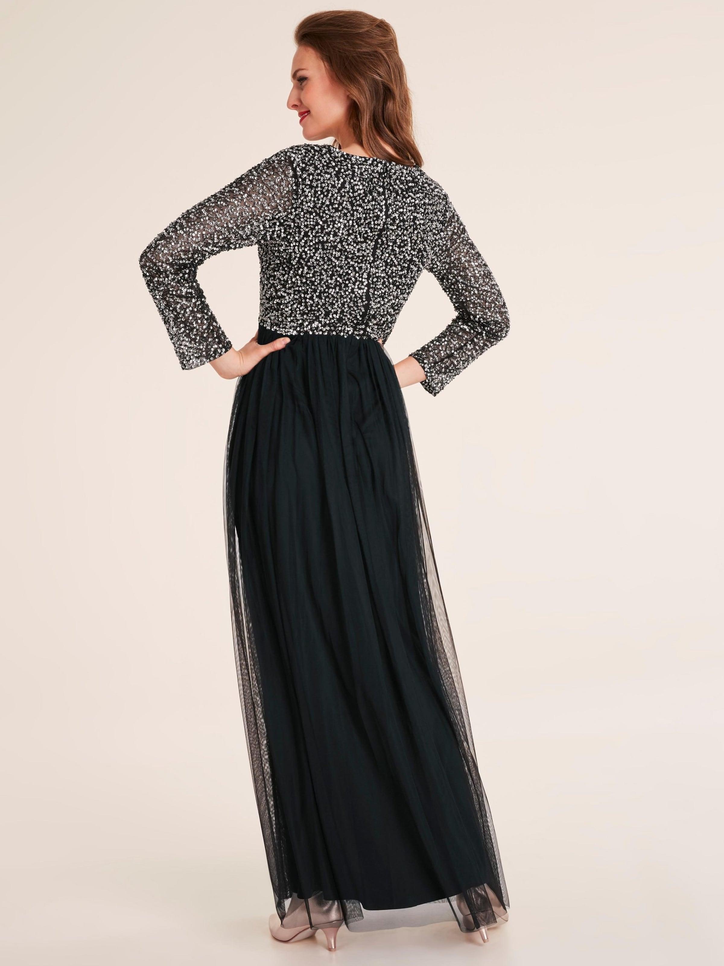 Soirée Robe En Heine De NoirArgent bv6gfYI7y