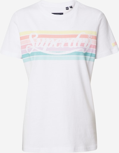 Superdry Shirt 'PL RAINBOW ENTRY TEE' in weiß, Produktansicht