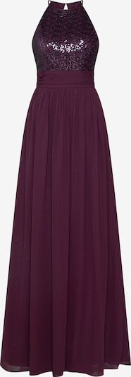 STAR NIGHT Abendkleid 'long dress (american cut) chiffon & sequins' in aubergine, Produktansicht