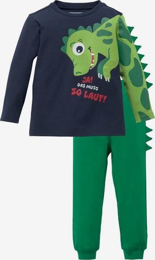 KLITZEKLEIN Schlafanzug in marine / grün, Produktansicht