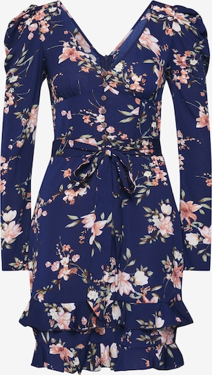 Boohoo Jurk 'Rouched Sleeve Floral Tea Dress' in de kleur Navy, Productweergave