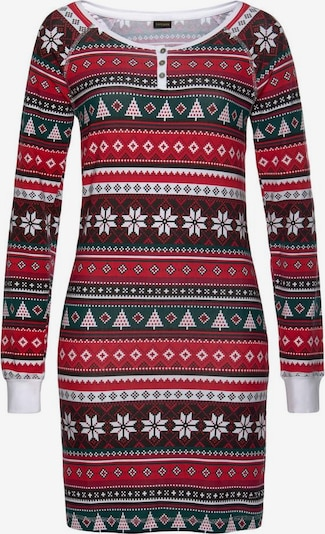 LASCANA Nachthemd in dunkelgrün / rot / weiß, Produktansicht